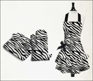 Black and White Animal Print Zebra Apron, Oven Mitt and Pot Holder