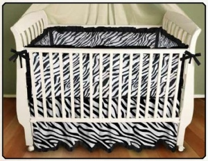 Black and White Zebra Print Baby Bedding - Bumper, Play Blanket, Crib Skirt