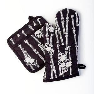 Voodoo Bones Oven Mitt Pot Holder Set